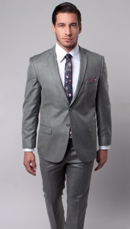 Young Men's Slim Style Suits Heather Tan Sharkskin Vented Back Tazio M181S-05 - click to enlarge