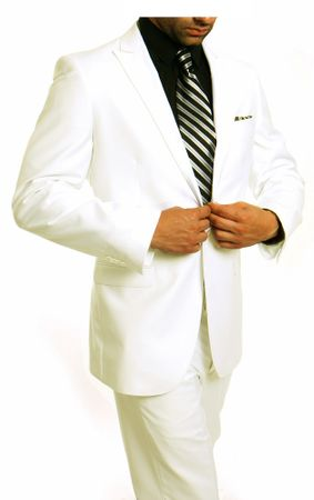 Young Men's White Tight Slim Fit Suit 1 Button Flat Front Tazio M211S