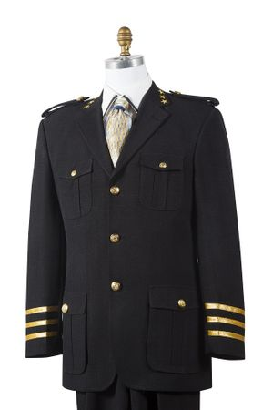 Canto Mens Black Military Style Pocket Fashion Suit 8391