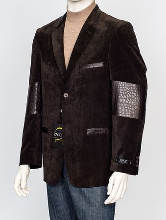 Zacchi Mens Brown Fashion Blazer Brushed Cord Gator Trim Acadia - click to enlarge