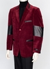 Zacchi Mens Burgundy Brushed Cord Black Gator Trim Fashion Blazer Acadia
