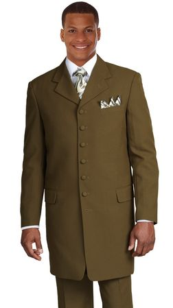Milano Olive Green Zoot Suit for Men 7 Button 904 - click to enlarge