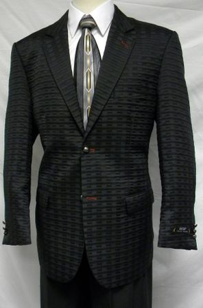 Zacchi Mens Black Quilt Fashion Blazer 72420 Size 42L Final Sale