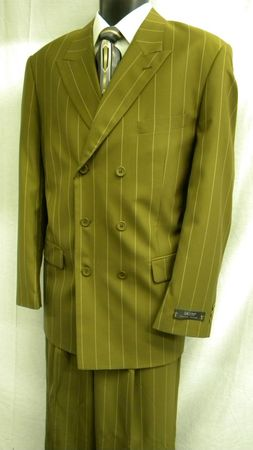 Zacchi Mens Taupe Stripe Double Breasted Suit 15587 Size 44L Final Sale