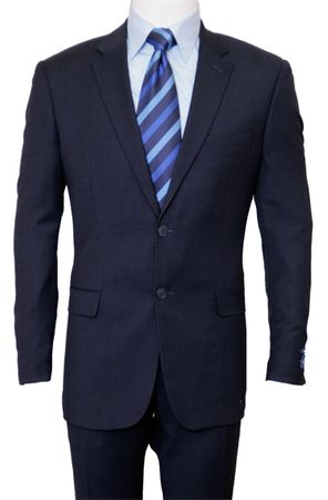 2 Button Italian Cut Navy Blue Wool Suit MW246-03