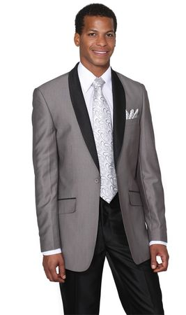 Milano Moda Young Men's Gray Slim Fit Red Carpet Evening Suit 5601 - click to enlarge