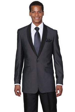 Milano Moda Midnight Blue Slim Fit Evening Suit 5601 - click to enlarge
