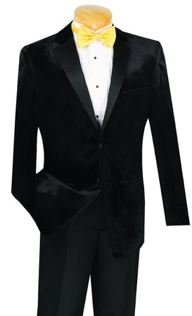 Vinci Men's Black Slim Fit Velvet Tuxedo T-SV