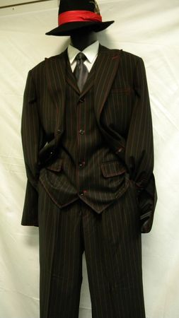 Zoot Suit by Milano Black and Red Gangster Inspired Stripe 3 Piece 5903V - click to enlarge