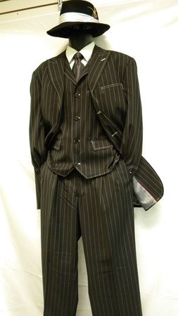 Zoot Suits Black White Gangster Stripe 3 Piece Milano Moda 5903V