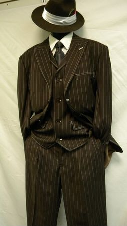 Zoot Suits Mens Brown White Gangster Stripe 3 Piece Milano Fortino 5903V - click to enlarge
