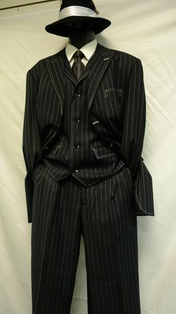 Zoot Suit With Vest Navy and White Gangster Style Lines 3 Piece 5903V