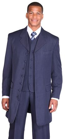 Zoot Suit Navy Blue Mens 3 Piece Long Jacket Milano 7903V - click to enlarge