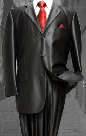 Mens Glossy Black Sharkskin Suit 3 Button Fortini 58025 Size 46 Reg Final Sale