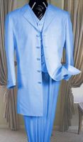 Zoot Suit Dark Sky Blue Mens 3 Piece Long Jacket Milano 7903V