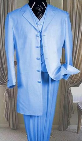 Zoot Suit Dark Sky Blue Mens 3 Piece Long Jacket Milano 7903V - click to enlarge