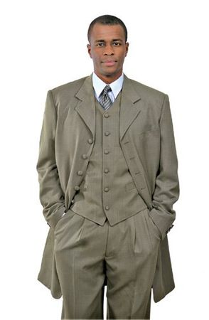 Zoot Suit Taupe Khaki Mens 3 Piece Long Jacket Milano 7903V - click to enlarge