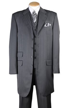 Zoot Suit Mens Gray with Gray Stripe Three Piece Vested Fortini 29198