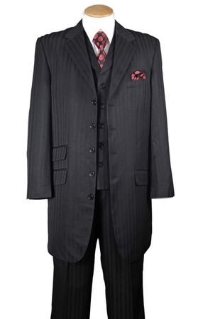 Zoot Suit Mens Black Tonal Stripe 3 Piece Fortini 29198
