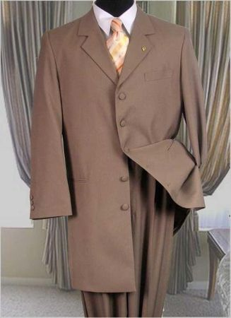 Zoot Suits for Men Tan 3 Piece Longer Jacket Milano 2475V