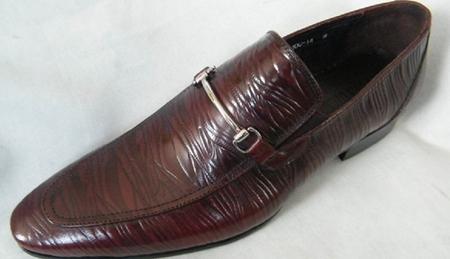 Zota High Fashion Brown Leather Textured Fashion Loafer HX3102 Size 12 Final Sale - click to enlarge