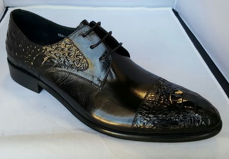 Zota High Fashion Black Pointy Leather Cap Toe  HX756-405 - click to enlarge