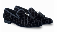 Mezlan Black Tassle Velvet Loafers Grey 8486
