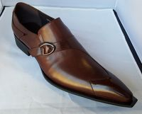 Zota Mens Brown Leather Buckle Slip On Shoe G737A-2P