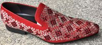 Zota Mens Red Crystal Geometric Pattern Suede Shoes G6628-24