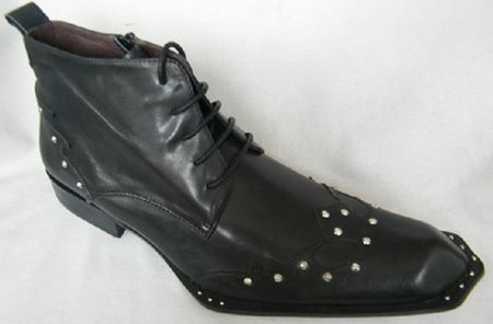 Zota Mens Black Studded Unique Pointy Toe Leather Boots G4H939