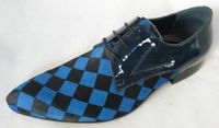 Zota Mens Blue and Black Checkerboard Lace Up Suede and Leather Shoes HX750-307A