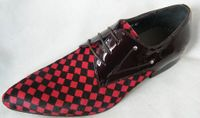 Zota Mens Suede and Patent Leather Red and Black Checkered Fashion Shoe HX750-307
