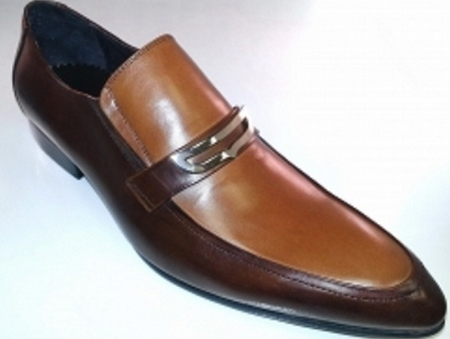 Zota Brown/Tan Pointy Toe Italian Style Bracelet Loafer HA93-9 Size 12 Final Sale - click to enlarge