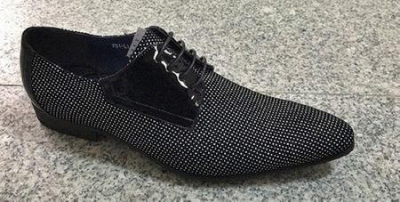 Zota Mens Black White Micro Polka Dot Style Lace Up Pointy Toe Fashion Shoe HFD1-L3