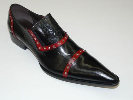 Zota Shoes Black /Red Pointy Toe Leather Slip On G508 Size 11 Final Sale - click to enlarge