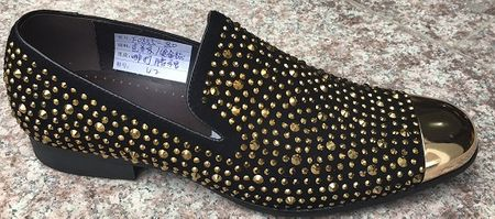 Zota Party Shoes Men Metal Toe Black/Gold Rhinestones GF0835-80