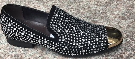 Zota Party Shoes Men Metal Toe Black/Silver Rhinestones GF0835-80