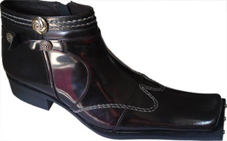 Zota Mens Burgundy High Fashion Wing Style Leather Boots G4H893-5