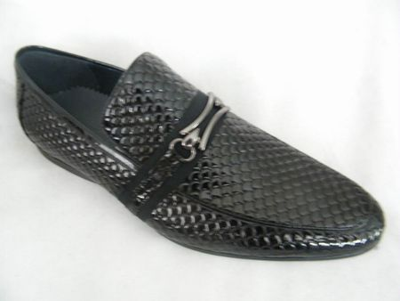 Zota Mens Italian Style Black Snake Print Leather Loafers HX737-300B