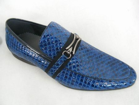 Zota Mens Italian Style Blue Snake Print Leather Loafers HX737-300B