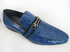 Zota Mens Italian Style Blue Snake Print Leather Loafers HX737-300B Size 11