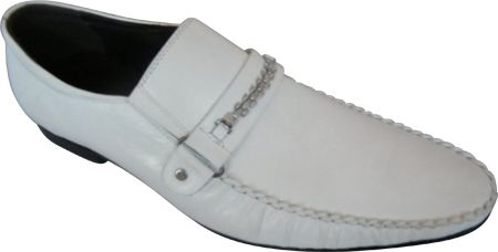 Zota Mens Italian Style Fancy Strap Leather Loafers GM892-80 White Size 8 Final Sale