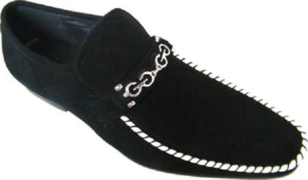 Zota Mens Suede Black with White Trim Chain Link Strap Shoes G6850-6 - click to enlarge