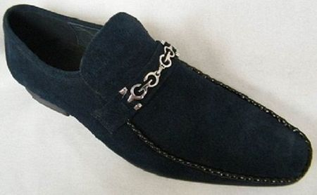 Zota Mens Suede Navy Chain Link Strap Shoes G6850-6 Size 12 Final Sale