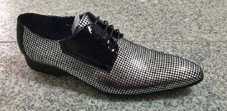 Zota Silver Polka Dot Style Lace Up Pointy Toe Fashion Shoe HFD1-L2 - click to enlarge