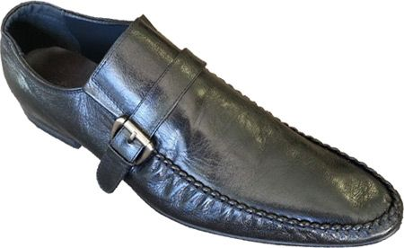 Zota Mens Italian Style Side Buckle Black Leather Loafers GM892-81