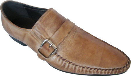 Zota Mens Italian Style Side Buckle Taupe Leather Loafers GM892-81