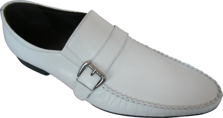 Zota Mens Italian Style Side Buckle White Leather Loafers GM892-81