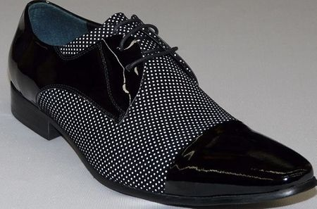 Zota Mens Pin Dot Black and White Cap Toe Dress Shoe HX201510-03