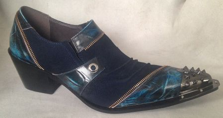 Zota Metal Toe Blue Cuban Heel Leather Fashion Shoes G868-1 - click to enlarge